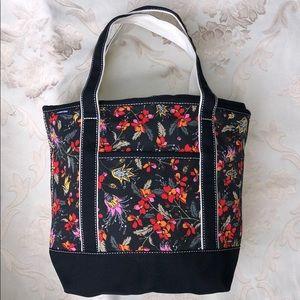 Lands' End Black Floral Medium ZipTop Canvas Bag